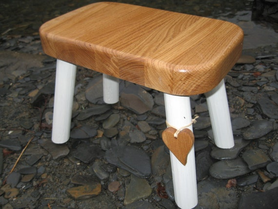 Solid Oak Top Wooden Country Stool
