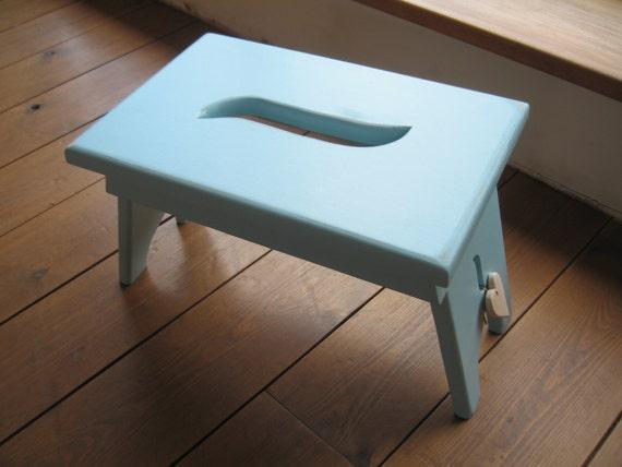 Shabby chic light blue shaker style wooden stool