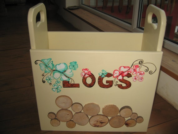Hand made wooden painted log box/storage