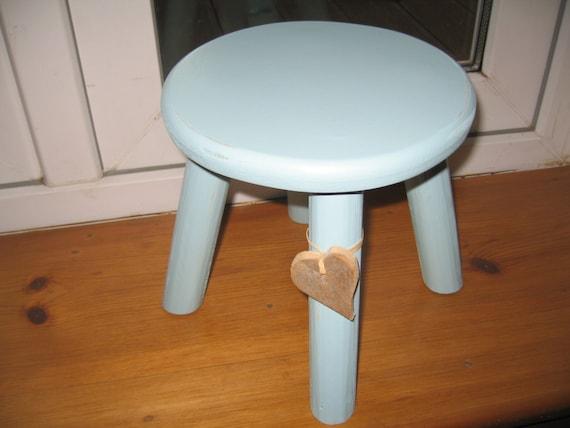 Blue shabby chic wooden milking stool