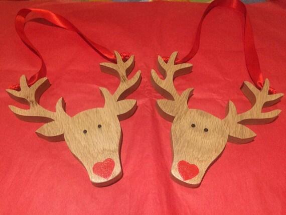Solid Oak Wood Deer Christmas Decorations/Ornaments