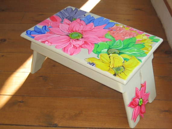 Orginal Art work painted Summer flowers on a rustic shaker style wooden stool