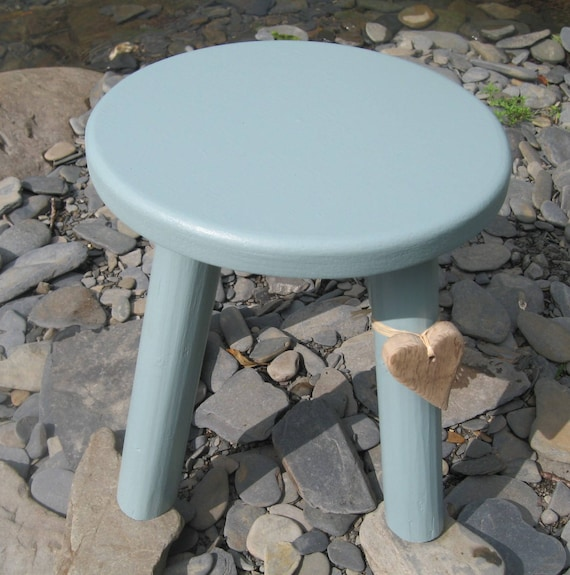 Calm coastal blue/grey colour wooden milking stool