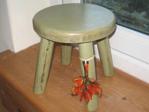Autumn Rustic Look thicker top wooden milking stool