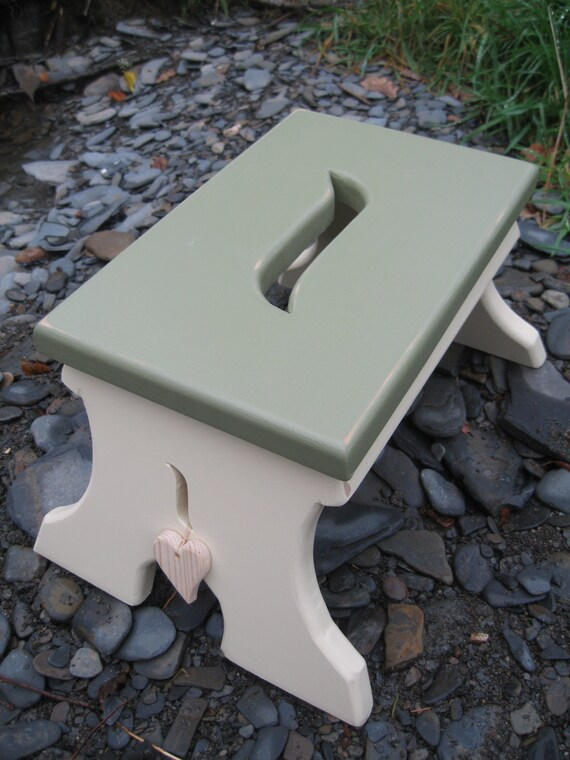 Chunky look hand made wooden shaker style, shabby chic wooden step stool