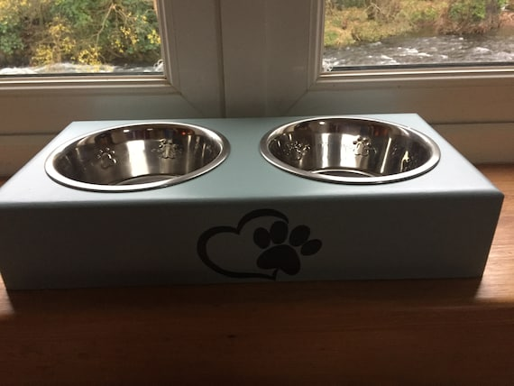 Personalised hand made and hand painted Dog feeders with stainless steel bowls