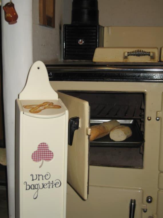 French stick/baguette wooden bread holder/storage
