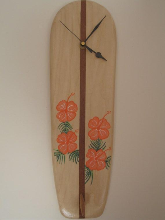 Retro longboard wooden surfboard clock