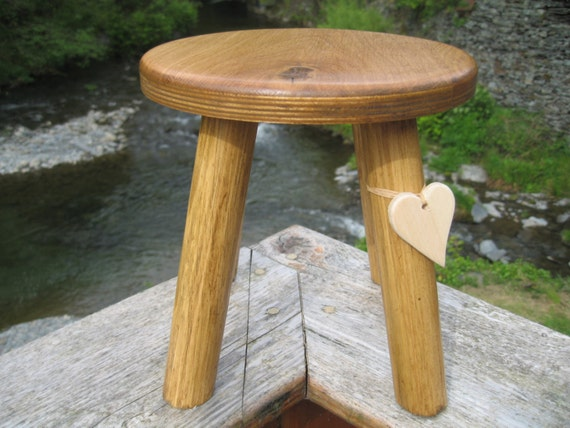 Darker Colour Oak Topped Wooden Milking Stool