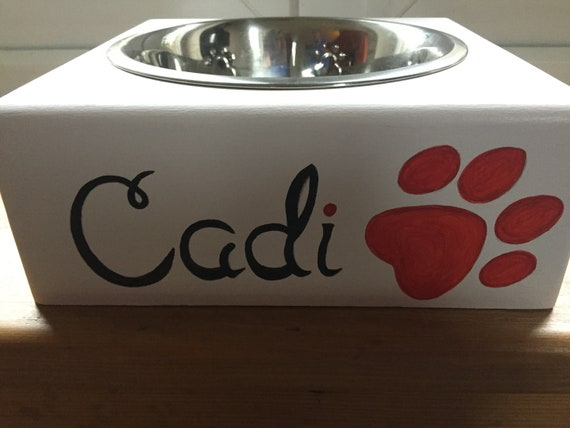 Personalised Wooden Hand Painted Dog Feeder and Bowl