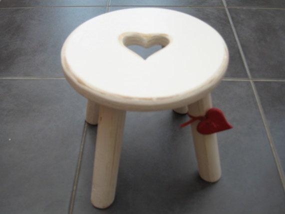 Light Cream Shabby Chic Wooden Milking Stool
