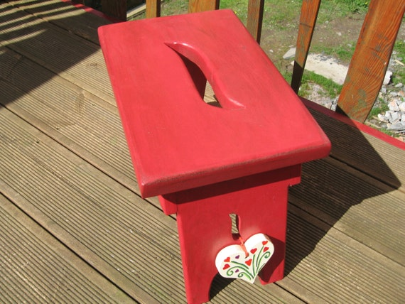 Hand made thick top red shaker wooden style stool.