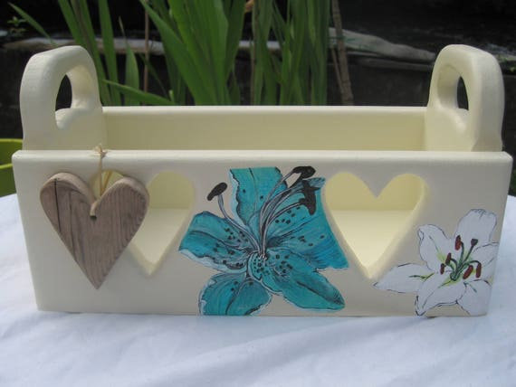 Wooden Heart Storage Box & Painted Lillies