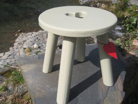 Light green/grey handmade wooden heart milking stool