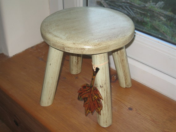Autumn leaf wooden milking stool