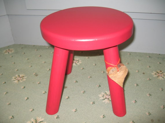 Thick Top Red Wooden Milking Stool