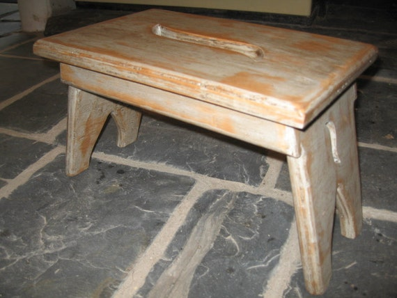 Two Waxed Effect Rustic WoodenShaker Style Stool