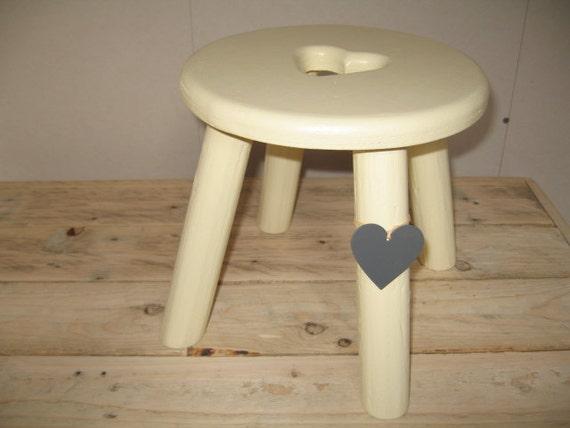 Thick top, grey metallic heart cream wooden milking stool