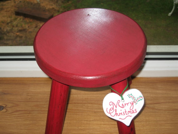 Red Christmas thick top Milking stool