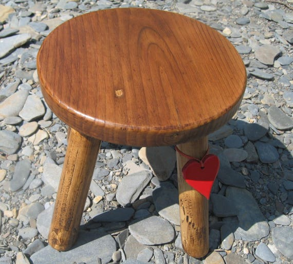 Old Reclaimed Pine Top Darker Colour Wooden Milking Stool