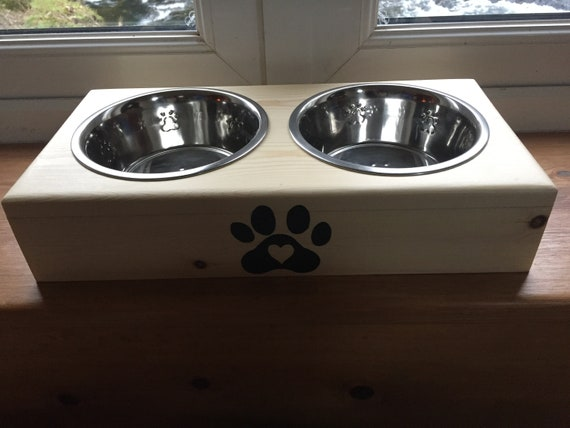 Personalised handmade wooden dog feeder and bowls