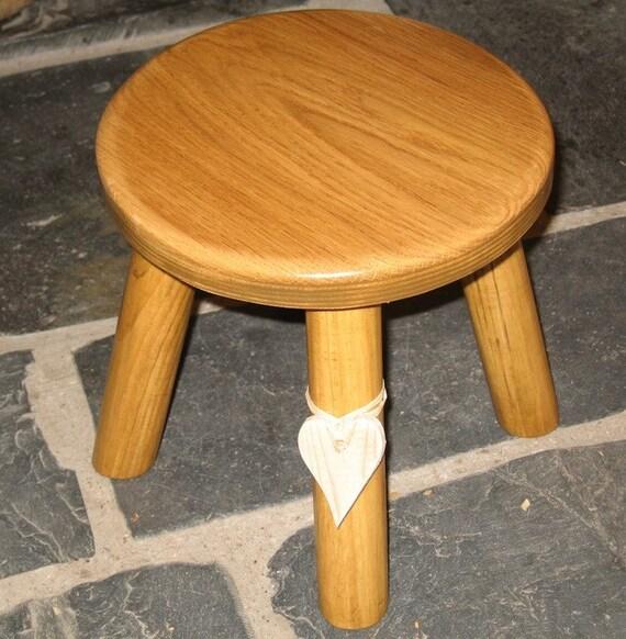 Lighter Colour Oak Topped Wooden Milking Stool