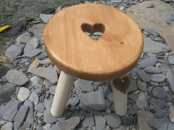 Pine topped wooden milking stool