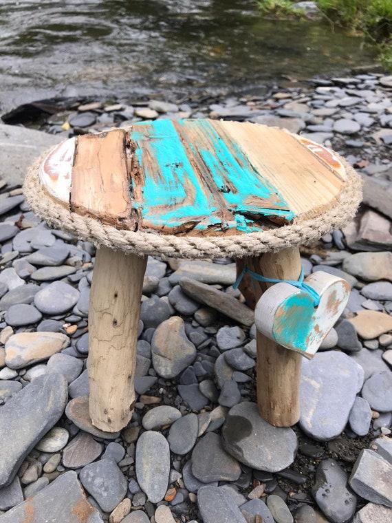 Rustic Driftwood Coastal Milking Stool