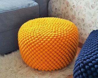 Crochet yellow round pouf /  large wool ottoman / knit floor pillow / nursery pouf