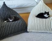 Wool knitted grey melange, white kids adult XL bean bag Chunky wool adult bean bag chair floor pillow