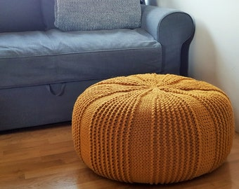 Knitted round mustard floor pillow / Large rope pouf / Giant cushion