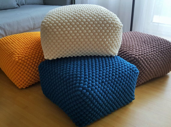 Wondrous Crochet Stuffed White Blue Yellow Milky Brown Ottoman Nursery Pouf Knit Pouf Ottoman Wool Chair Machost Co Dining Chair Design Ideas Machostcouk