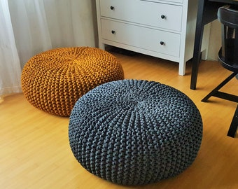 Mustard/steel grey knitted floor pillow / Rope knit large ottoman /  Giant knit pouf