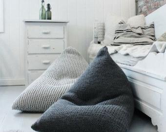 Wool knitted grey kids' / adult bean bag /Chunky wool bean bag chair cover/ Nursery floor pillow