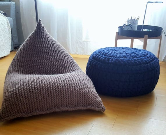 Surprising Knitted Wool Milky Brown Dark Taupe Kids Bean Bag Wool Bean Bag Adult Chair Nursery Floor Pillow Ncnpc Chair Design For Home Ncnpcorg