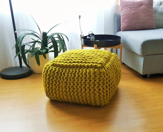 Surprising Pear Green Stuffed Pouf Ottoman Merino Wool Pouf Wool Floor Cushion Crochet Footstool Short Links Chair Design For Home Short Linksinfo