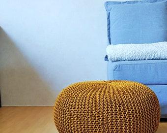 Knitted mustard rope pouf / Large ottoman / Crochet footstool / Nursery bean bag / Outdoor ottoman