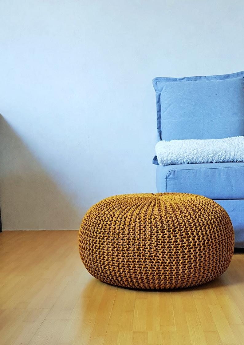 Knitted mustard rope pouf  Large ottoman  Crochet footstool  Nursery bean bag  Outdoor ottoman