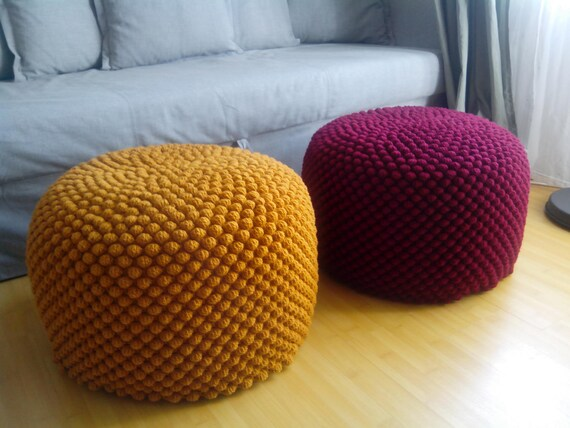Crochet Mustardyellowbordeauxcherry Round Pouf Large Etsy Delectable Yellow Knit Pouf