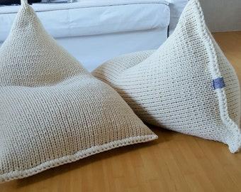 Knitted wool cream kids bean bag / Wool bean bag chair / Nursery floor pillow