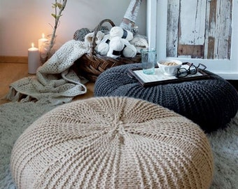 Knitted wool beige/dark blue floor pillow / Large pouf / Giant cushion