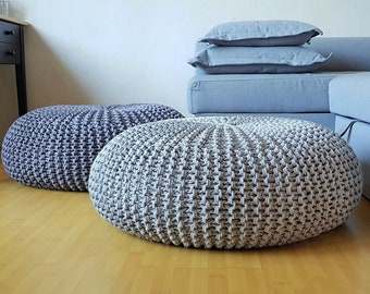 Knitted grey stuffed floor pillow / Large pouf / Rope ottoman