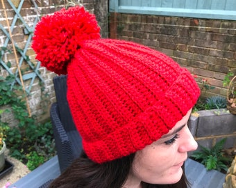7c68dd311c4 womens red beanie. Red pom pom hat. Christmas gift for her.