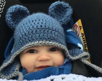 adcbd2b3fd367 Crochet baby Bear Hat. Baby Hat with ears. Newborn gift. Ear flap hat  .child bear hat.
