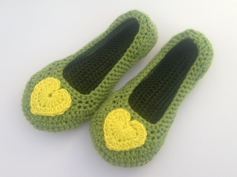 b6374184309bb womens spring crochet slippers. Yellow heart slippers. Green house  shoes.Mothers day gift. Easter gift.