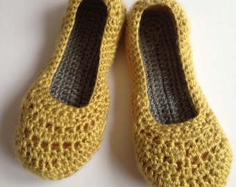 Womens crochet slippers. Mustard and grey slippers. House shoes. Mothers Day Gift.