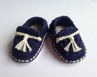 Crochet Baby Booties. Cotton loafers. Nautical Baby shoes