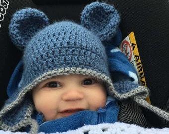 Crochet baby Bear Hat. Baby Hat with ears. Newborn gift. Ear flap hat .child bear hat.