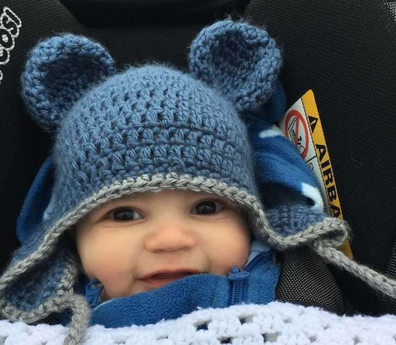 Häkeln Sie Baby Bär Hut Baby Mütze Mit Ohren Neugeborene Etsy