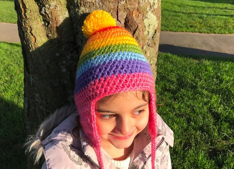 a356eec987ab39 Baby crochet Rainbow hat. Kids earflap hat. Childrens bobble | Etsy